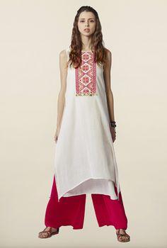 Global Desi Cream Embroidered Cotton Kurta