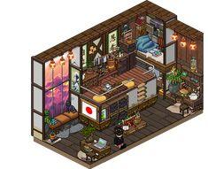 Habbo Pixel, Pixel Art, Bedroom Drawing, House Drawing, Isometric Art, Isometric Design, Fantasy Landscape, Fantasy Art, Sims