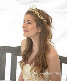 Gold Wedding Crown Woodland Queen Wedding Headpiece Leaves Flowers and Pearls, Wedding Hair, Metal Wedding Hair Accessory, Gold Bridal Tiara by BeSomethingNew on Etsy