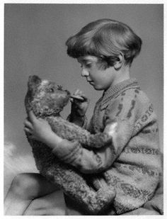 Christopher Robin with his teddy bear Winnie the Pooh. The UK's National Portrait Gallery has many pictures of him as a young boy. Some of them include his father, A. Milne, the author of the Winnie the Pooh stories. The Real Christopher Robin, Winnie The Pooh, Han And Leia, National Portrait Gallery, Pooh Bear, Illustrations, Disney Love, Disney Family, In This World