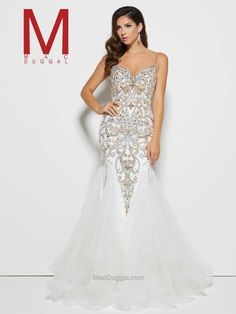 Thin strap, white, silver, gold, beaded, trumpet skirt dress. Glamorous Prom Gown | Mac Duggal 82517M. https://www.macduggal.com/Prom-Dresses/Mac-Duggal-Prom/82517M