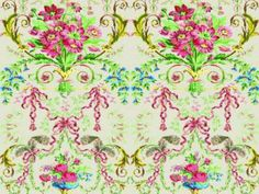 Louis XVI damask fabric with floral pattern