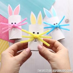 This toilet paper roll bunny is an easy Easter craft for kids. Make a paper roll bunny in different colors. Easy for kids of all ages to make!- such a cute Easter craft for kids! Kids Crafts, Easy Easter Crafts, Bunny Crafts, Winter Crafts For Kids, Halloween Crafts For Kids, Spring Crafts, Flower Crafts, Diy For Kids, Holiday Crafts