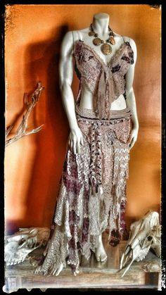 Bohemian Dress Festival Wear Lace Skirt Sarong by PrimalForged Moda Burning Man, Vestimenta Burning Man, Bohemian Lace Dress, Estilo Tribal, Burning Man Fashion, Man Dressing Style, Fairy Clothes, Boho Designs, Festival Dress