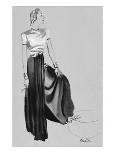 R.S. Grafstrom's portrait manages to appear both lifelike and imagined. A woman models at-home wear by Muriel King. A blouse embroidered in gold, tied in a knot at the waist, tops wide pajama pants. The illustration appeared in the October 15, 1937, Vogue.