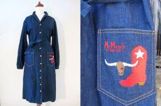 Denim Western Shirtdress by Mr Mench of Dallas, S-M // Vintage Day Dress // Cowgirl Dress w/ Sash Belt Cowgirl Dresses, Office Chic, Denim Shirt Dress, Sash Belts, Shirtdress, Day Dresses, Westerns, Dallas, Texas