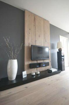 Resultado de imagem para wood accent wall tv