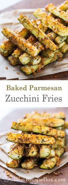 Once you try this Parmesan baked zucchini fries recipe you will be instantly hooked Zucchini Pommes, Bake Zucchini, Recipe Zucchini, Zuccini Bake, Baked Zuchinni Recipes, Recipes With Zucchini, Cooking Zucchini, Zucchini Boats, Courgette Recipe Healthy