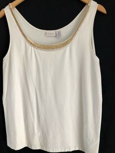 7743d062eec401 CHICO'S 3 Cream off white w Gold bead Tank Top Shirt L XL #fashion #