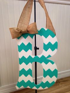 Chevron Monogram Letters w/ Burlap Ribbon- possible project for homemade christmas gifts