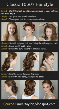 I love this style pin-up hair! Looks simple enough. May do the go-to-bed-with-wet-hair-in-a-ponytail routine for lift and hot rollers the next day for the waves. Faster and easier to get the same results. by veronicawasp Classic Hairstyles, Retro Hairstyles, Wedding Hairstyles, 1950s Hairstyles For Long Hair, Vintage Hairstyles Tutorial, Tiara Hairstyles, Hairstyles Videos, Long Haircuts, Simple Hairstyles