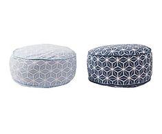 Set van 2 vloerkussens Rombos, wit/blauw, 40 x 40 cm
