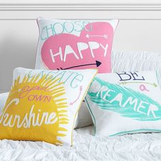 PB Teen Coastal Inspiration Pillow Cover, Choose Happy at Pottery Barn... ($35) ❤ liked on Polyvore featuring home, bed & bath, bedding, duvet covers, coastal cottage bedding, cotton bedding, bright multi colored bedding, colorful bedding and coastal style bedding