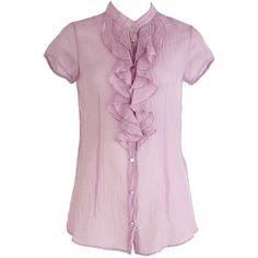 Pretty sheer styles are perfect for Spring, Nolita's Lilac Crinkle Blouse is an ideal choice. Layered ruffled detailing down button up front is beautifully bal…