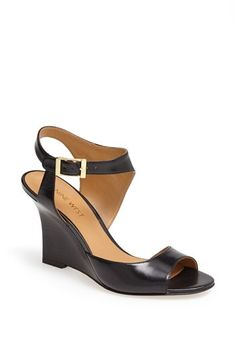 $98, Edeneva Wedge Sandal Black Leather 5 M by Nine West. Sold by Nordstrom. Click for more info: http://lookastic.com/women/shop_items/63728/redirect