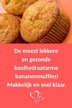 Deze heerlijke #gezonde #bananenmuffins zijn ideaal als tussendoortje. Slechts 6 gram koolhydraten per muffin. Bekijk het recept op BGreat.nl. Smakelijk alvast xxx