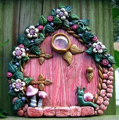 Pink Perfection Fairy Door Polymer Clay by PinkChihuahuaCrafts