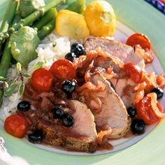 Blueberry Pork- onion, tomatoes