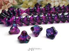 Purple Teal Rainbow Bell Flower Beads, Czech Glass Beads, Large Bell Flower Bead Cap, 11x13mm Bell Flower Beads, Lot Size 10, #303