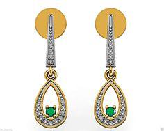 Solid 18k Yellow Gold Natural Diamond Pave Dangle Drop Earrings Emerald Gemstone #raj_jewels