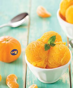Cuties® Clementine Sorbet recipe - Clementine juice and zest flavor this delicious and refreshing sorbet. Garnish with mint for a fresh finish to any meal.  #Recipe #Sorbet