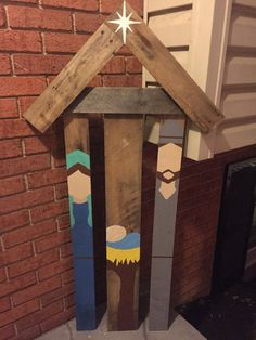 Rustic Reclaimed pallet wood nativity scene outdoor