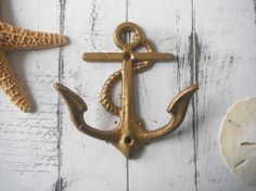 anchor hook shabby chic beach house wall hook by Thewaterssong