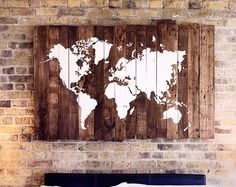 Rustic Wooden World Map Made from Reclaimed by SalterCreekDesigns