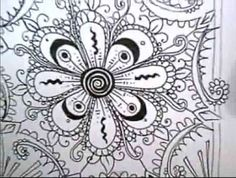 black n white art Zen Doodle, Doodle Art, Doodle Ideas, Tangled Flower, Cool Drawings, Ink Drawings, Tangle Art, Simple Doodles, Doodles Zentangles