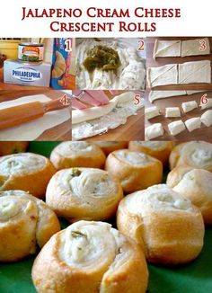 Jalapeno Cream Cheese Crescent Rolls - I like this but what could I substitute jalapeño for? Finger Food Appetizers, Yummy Appetizers, Appetizer Recipes, Snack Recipes, Cooking Recipes, Yummy Recipes, Cream Cheese Crescent Rolls, Crescent Roll Recipes, Cresent Rolls