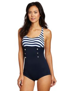Seafolly Womens Seaview Boyleg Sailor Swim Suit Maillot - really cute one piece in a vintage style!