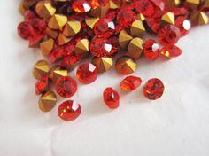 DIY supplies -- Vintage Swarovski Rhinestones Crystals Chaton 27pp SS14 PP 27 Hyacinth Orange Red Round Point Back 3.5 mm Wholesale Lot 24 Jewelry Supplies $1.99