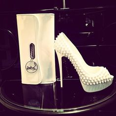 stunning white studded louboutin lady peeps and clutch