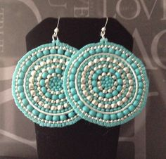 Silver and Turquoise Seed Beaded Earrings  Big Bold by WorkofHeart, $45.00