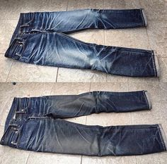 """636 Likes, 5 Comments - Robin Denim (@robindenim) on Instagram: """"Samurai s710XX at 9 months of wearing. Before & After the first wash! @mrizky_gdbteamsamurai"""""""