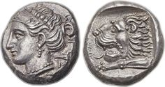 Ancients CARIA. Cnidus. Ca. 400-330 BC. AR tetradrachm (23mm, 14.72 gm, 10h). Head of Aphrodite left, wearing broad ampyx emblazoned with ΣI monogram, beaded drop earrings and beaded necklace [K] - N[I] to either side of neck / Head and neck of roaring lion, left, foreleg stretched out before, all within incuse square. Ashton, The Hecatomnus Hoard 16a (same dies). Extraordinary example of this rare and attractive type. Well struck from fresh dies.