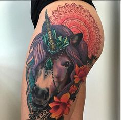 Yallzee's Tattoo Pick of the day.Tattoo by @miryamlumpini. #inked #yallzee #pick #tattoo #inkedmag #tattoos #idea #art #unicorn #magical #colorful