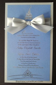 An idea for Cinderella themed wedding invitations. Really cute and simple, not too much to have to put together, although the bow could be bulky if you put it in an envelope.