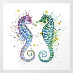 watercolor, seahorse, love, ocean...