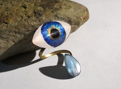 Bright Blue Eyeball Ring with Tear Adjustable Brass Double Ring with Hand Painted Glass Eye - 30x16mm Eye 14x10mm Tearcrop Wrap Ring by TheGlitorisShop on Etsy