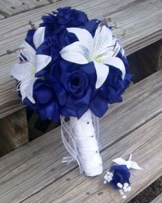 This listing is made to order and Includes 2 Pieces 1 10in Round Rose Bouquet (Rose shown Royal Blue) with Tiger lillies (Tiger Lily Shown White) with 1 Matching Boutonniere (Shown Royal Blue Rose Bud