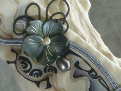 bracelet tahiti soie peinte,manchette souple polynésien : Bracelet par iletaitunesoie