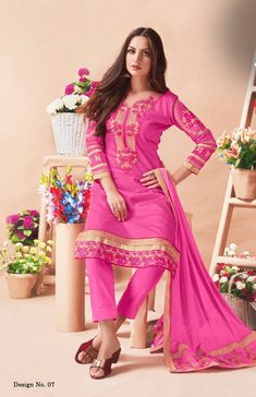 #pink #embroiderydesigns #georgettesuits   jam cotton embroidered dress   santoon fabric   pink nazneen dupatta   full sleeves   party wear   occasional wear