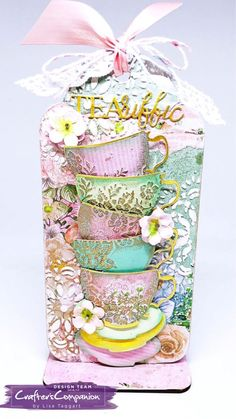 MDF tag made using Sara Signature Vintage Tea Party Collection –designed by Lisa Taggart #crafterscompanion #ccgemini
