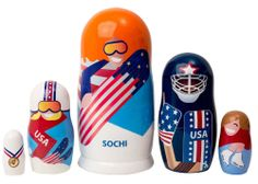 "Winter Olympics Nesting Doll 5pc./6"" - SOCHI - AVAILABLE 2/5"