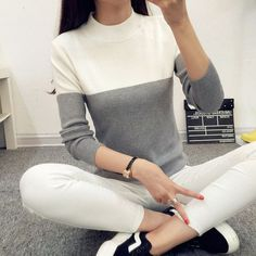 Spliced Sheath Women Sweater Pull Femme Autumn Winter Warm Thick Female High Collar Fashion Slim Pink White Pullover Ponch