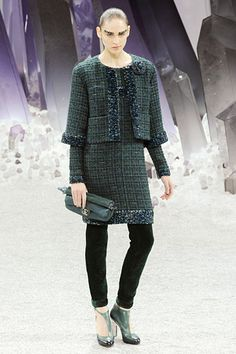 Chanel Fall 2012 RTW...love the classic Chanel suit updated with leggings.
