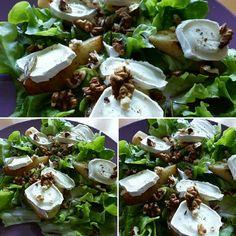 Gebakken peer, geitenkaas, wakniten, krulsla, dressing van een beetje honing, bio AB olijfolie en balsamicoazijn. Afwerken met PZ
