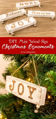 Cute and easy Christmas project. These DIY Mini Wood Sign Christmas Ornaments are a fun way to decorate your Tree with a rustic touch. Find full tutorial here!