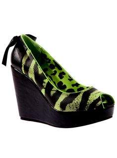 "Women's ""One Hand In The Grave"" Wedge by Iron Fist (Black) #InkedShop #zebra #shoes #style #fashion #wedges"